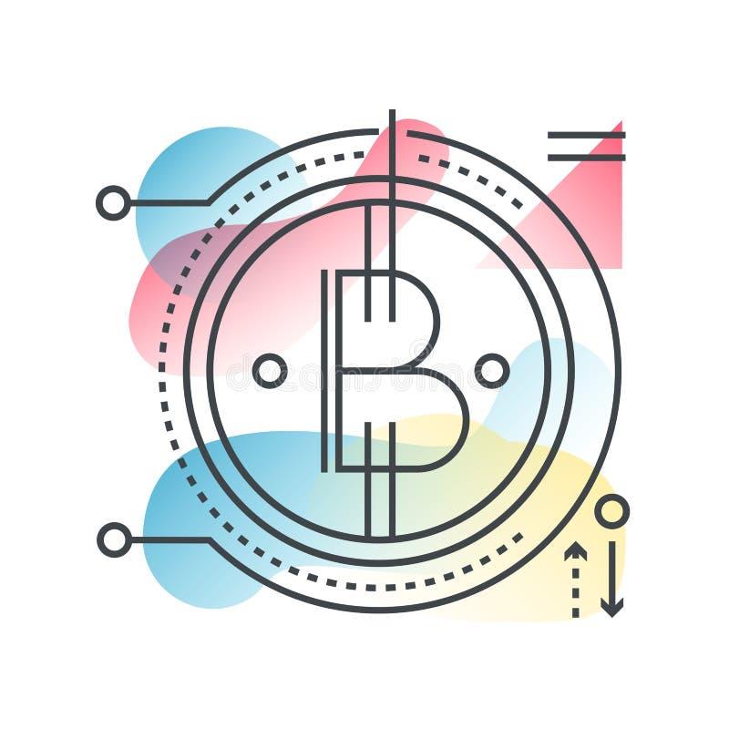 Concepto del vector del bitcoin de Blockchain en línea de moda con color plano de la pendiente ilustración del vector