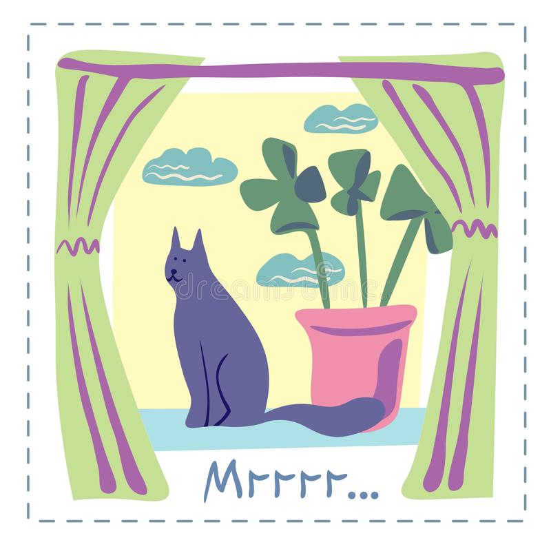 Concepto del vector con el gato lindo en colores suaves stock de ilustración