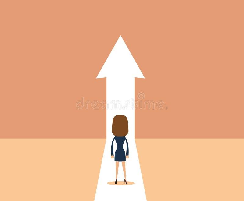 Concepto del vector del crecimiento del negocio con el hombre que camina hacia flecha ascendente libre illustration