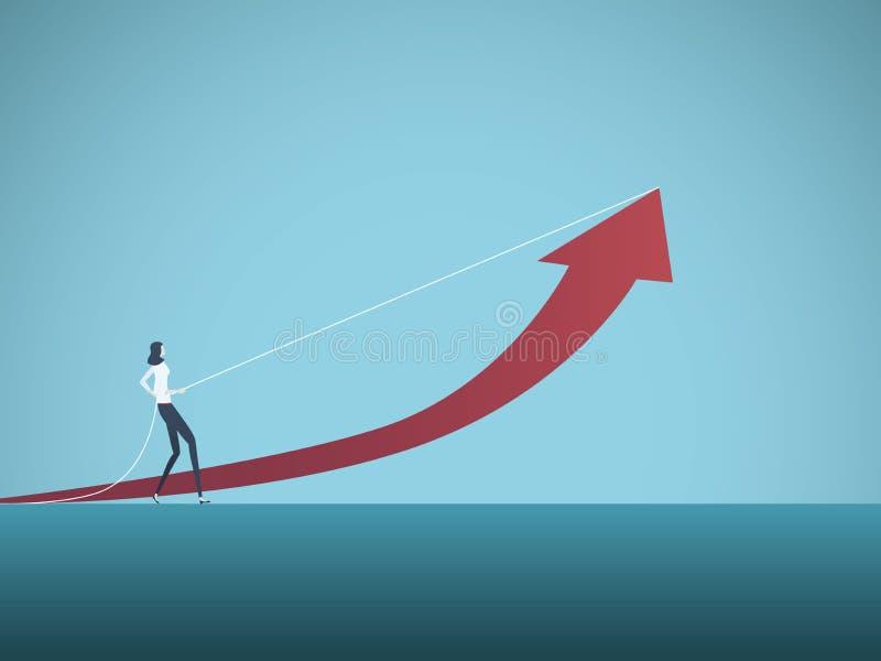 Concepto del vector del crecimiento del negocio con la empresaria que tira la flecha hacia arriba Símbolo del logro, planeamiento stock de ilustración