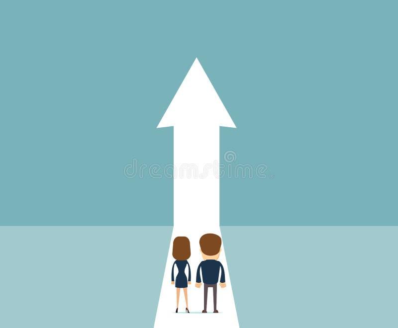 Concepto del vector del crecimiento del negocio con la gente que camina hacia flecha ascendente ilustración del vector