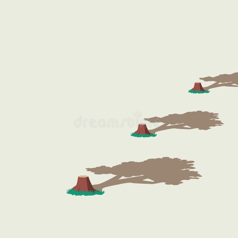 Concepto del vector del daño de la tala de árboles y del ambiente con los árboles cortados y sus sombras anteriores Símbolo del d ilustración del vector