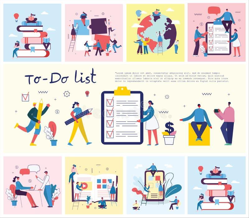 Concepto del vector de caracteres que trabajan con para hacer el ejemplo de la lista del planeamiento, gestión del proyecto, reun ilustración del vector