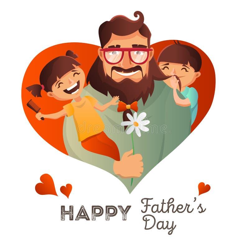 Concepto del vector de Day del padre Ejemplo con la familia feliz Hombre del inconformista y sus niños Tarjeta de felicitación ilustración del vector