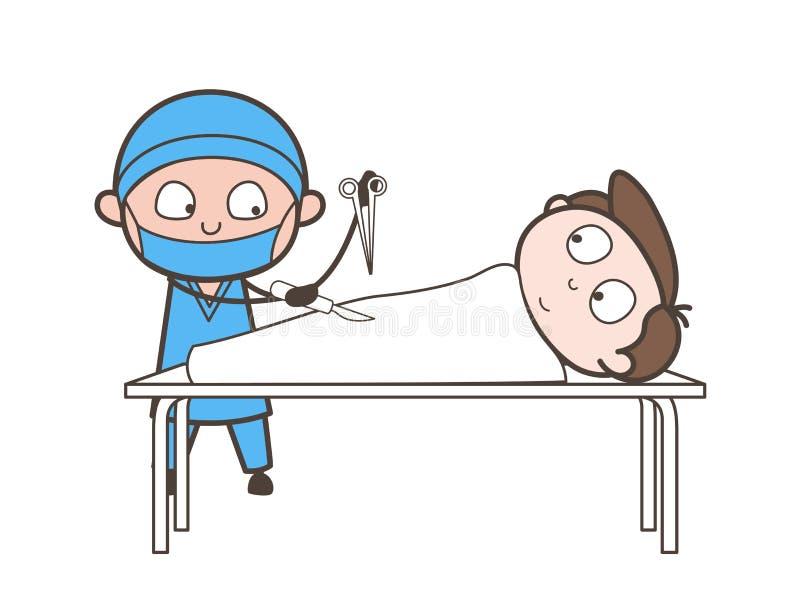 Concepto del vector de Doing Abdominal Operation del cirujano de la historieta stock de ilustración