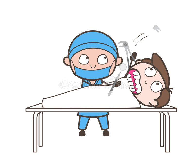 Concepto del vector de Doing Tooth Extraction del dentista de la historieta libre illustration