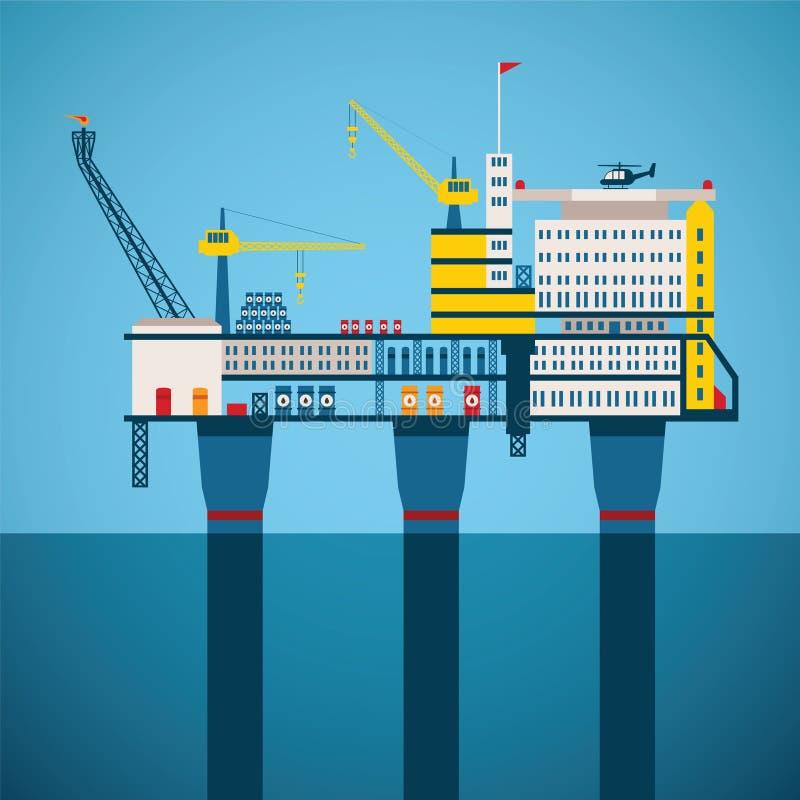Concepto del vector de industria costera del petróleo y gas libre illustration
