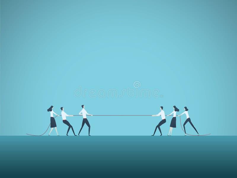 Concepto del vector de la competencia del negocio con los equipos en cuerda de tracci?n del esfuerzo supremo S?mbolo de la lucha  stock de ilustración