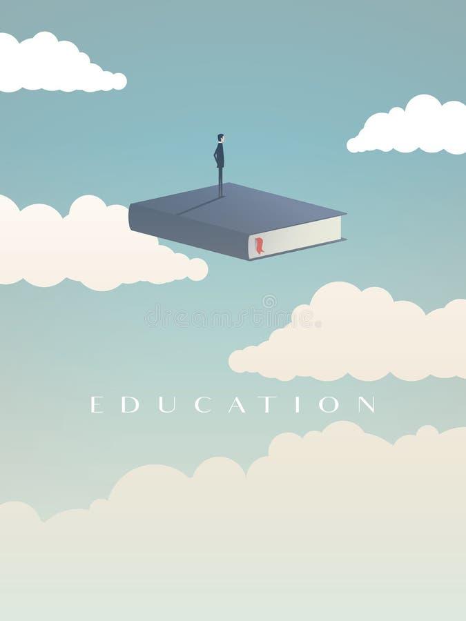 Concepto del vector de la educación Hombre de negocios o estudiante que se coloca en el libro que mira futuro Símbolo de la carre ilustración del vector