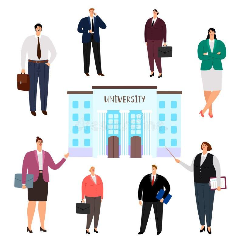 Concepto del vector de la educación de la universidad Gente de diversas profesiones, graduados de la universidad aislados en el f libre illustration