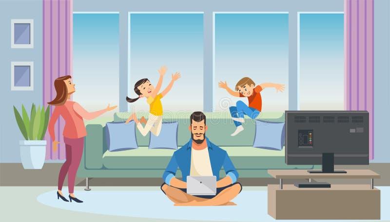 Concepto del vector de la historieta de Working del padre en casa libre illustration