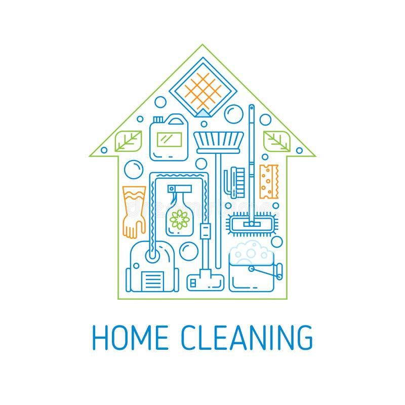 Concepto del vector de la limpieza de la casa libre illustration