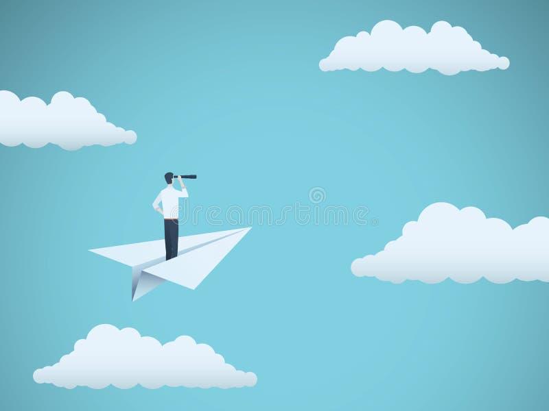 Concepto del vector de la visión del negocio con el hombre de negocios y el telescopio en el avión de papel Símbolo de la direcci libre illustration