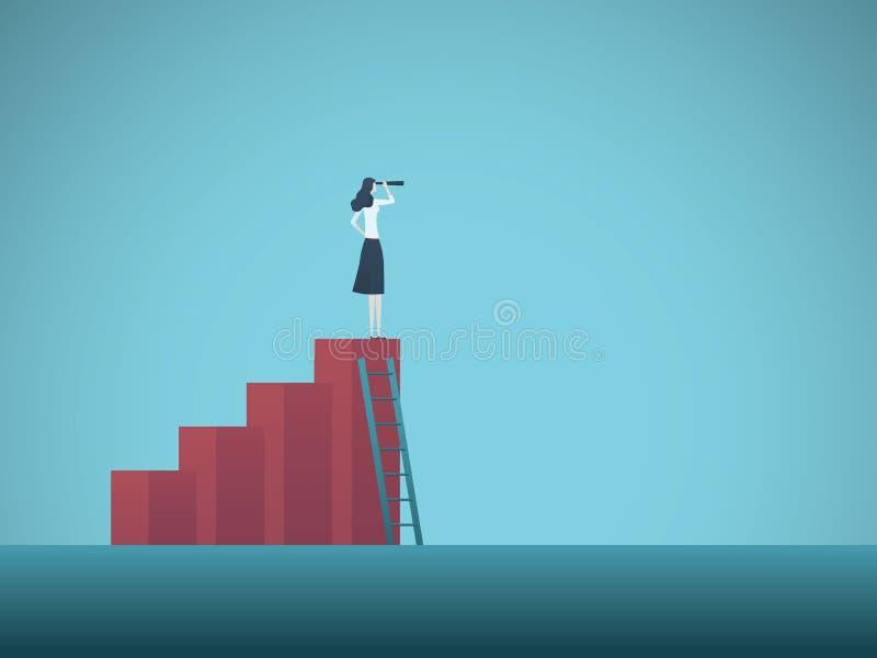 Concepto del vector de la visión del negocio con la mujer de negocios que se coloca encima de carta cada vez mayor Símbolo de la  stock de ilustración