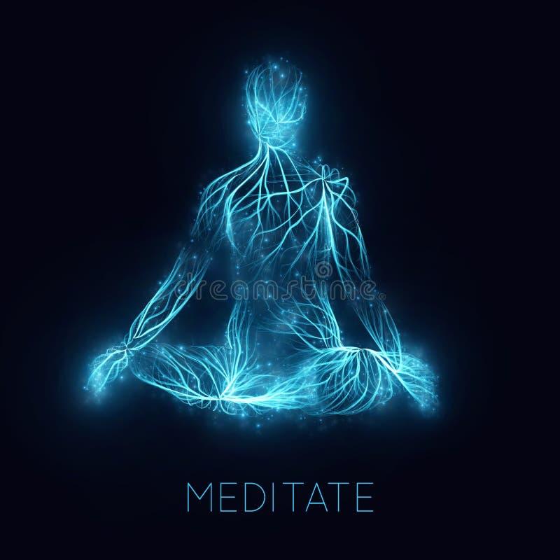 Concepto del vector de meditaion humano La energía sacra atraviesa el cuerpo del rezo en su manera al enlightment Actitud de la y ilustración del vector