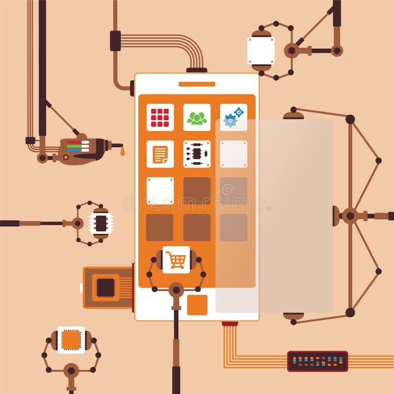 Concepto del vector de proceso de desarrollo móvil de la aplicación de software ilustración del vector