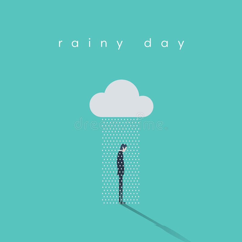 Concepto del vector del día lluvioso del negocio con el hombre de negocios que se coloca debajo de la nube y de la lluvia libre illustration