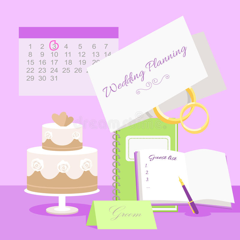 Concepto del vector del planeamiento de la boda en diseño plano ilustración del vector