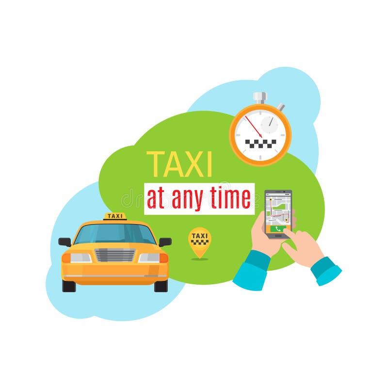 Concepto del vector del servicio del taxi libre illustration