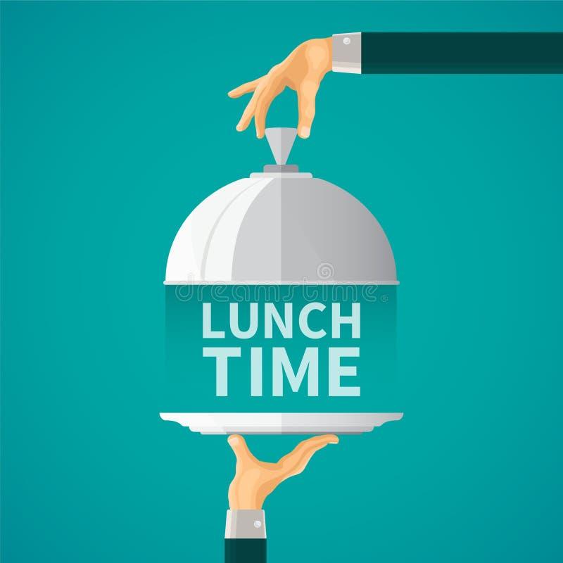 Concepto del vector del tiempo del almuerzo con la cubierta de la tapa de la campana de cristal en estilo plano ilustración del vector