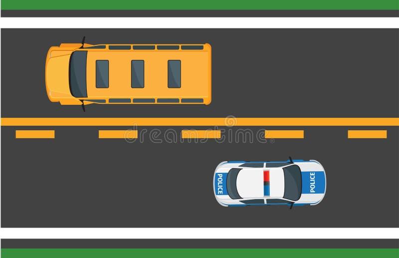 Concepto del vector del tráfico de ciudad con los coches en la carretera ilustración del vector