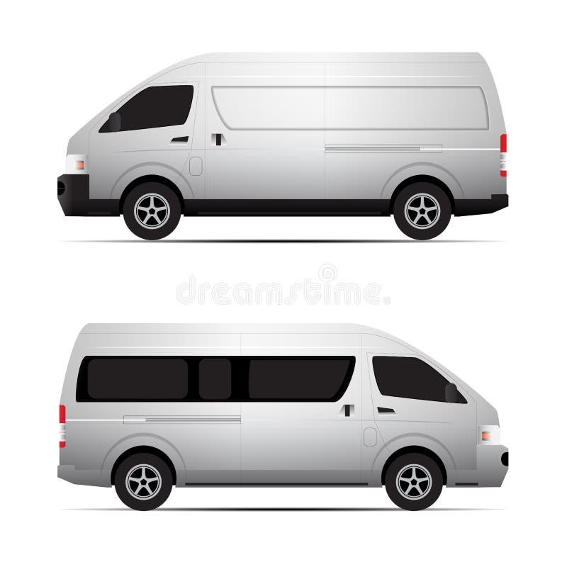 concepto del vector del transporte de la furgoneta stock de ilustración