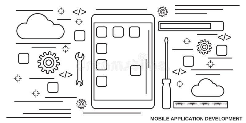 Concepto del vector del desarrollo de aplicación móvil libre illustration