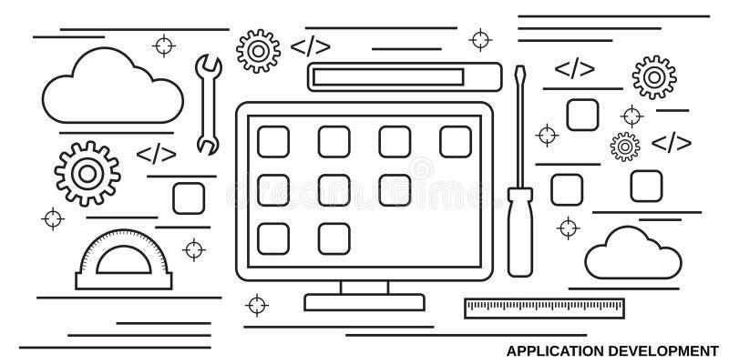 Concepto del vector del desarrollo de aplicaciones libre illustration