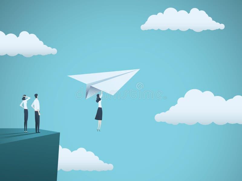 Concepto del vector del líder de la mujer de negocios Vuelo de la empresaria con el avión de papel de un acantilado Símbolo de la ilustración del vector