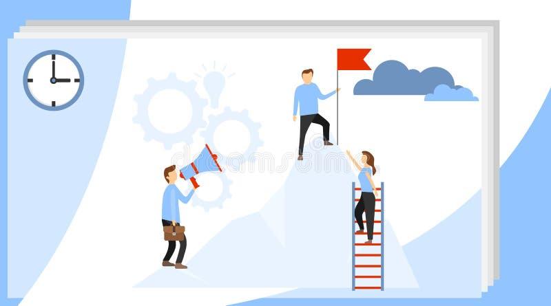 Concepto del vector del líder empresarial con el hombre de negocios que planta la bandera encima de la montaña prepare un proyect ilustración del vector