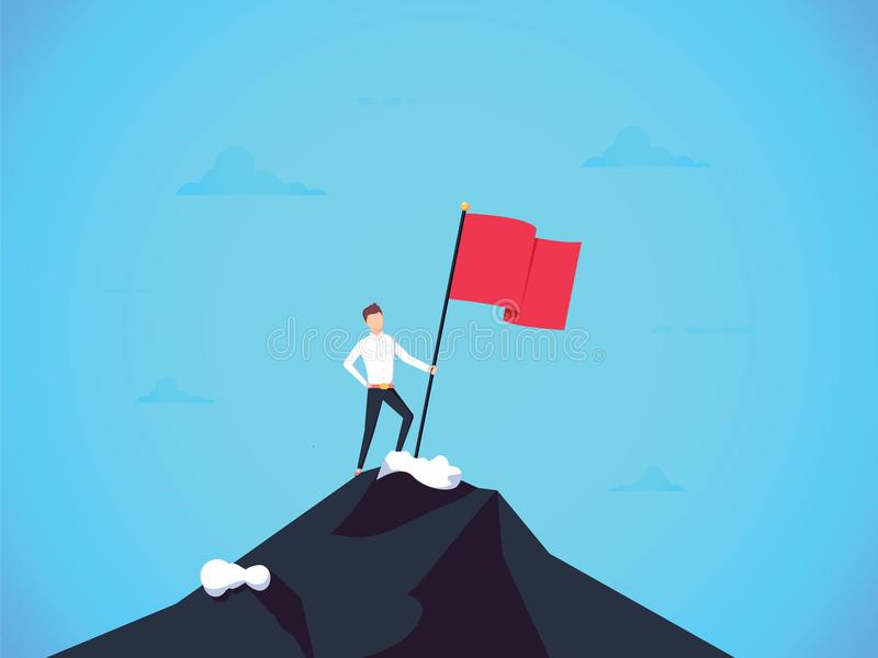 Concepto del vector del líder empresarial con el hombre de negocios que planta la bandera encima de la montaña Símbolo del logro  libre illustration