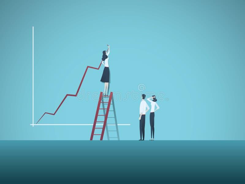Concepto del vector del líder y del trabajo en equipo de la mujer de negocios Carta de crecimiento del dibujo de la empresaria, s libre illustration