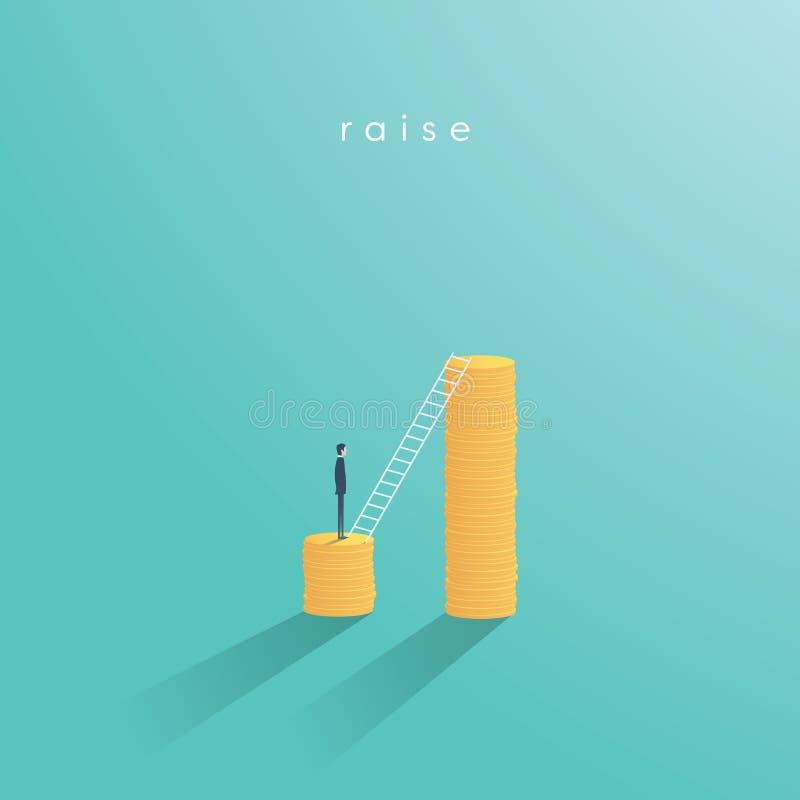 Concepto del vector del negocio de la subida de la paga Escalera que sube, símbolo de la carrera del aumento salarial con subir d ilustración del vector