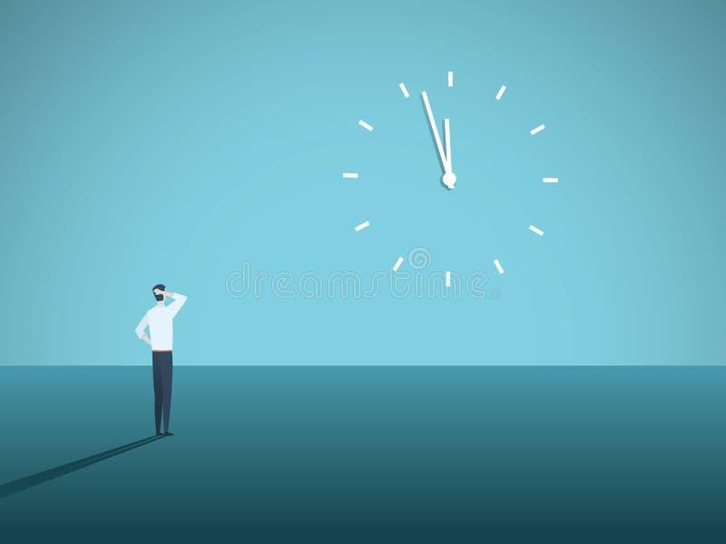 Concepto del vector del plazo del negocio con el hombre de negocios que mira fijamente un reloj en la pared Símbolo de la tensión stock de ilustración