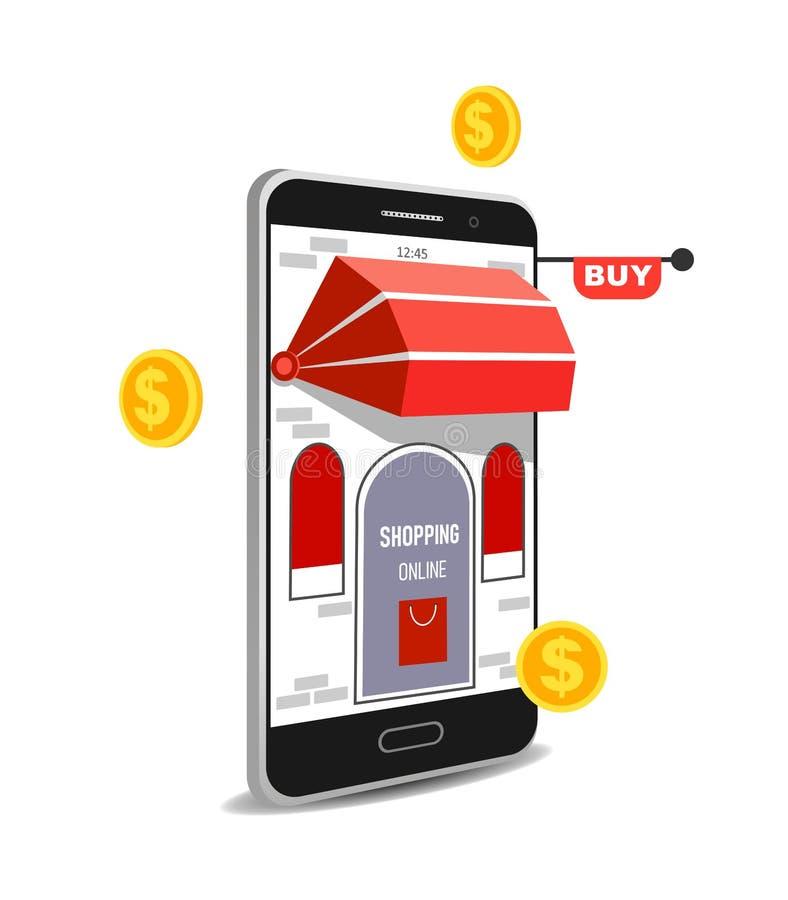 Concepto del vector que hace compras en línea en página web o la aplicación móvil Márketing del negocio y de Digitaces stock de ilustración