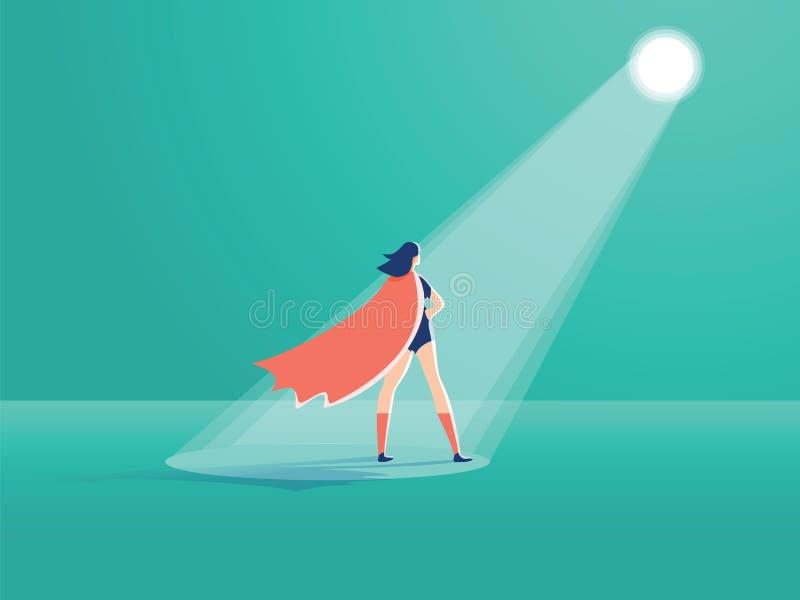 Concepto del vector del reclutamiento del negocio Super héroe de la empresaria en proyector Símbolo del alquiler, buscando talent ilustración del vector