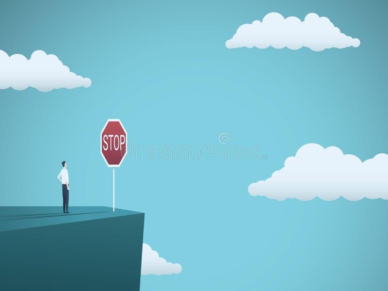Concepto del vector del riesgo de negocio Hombre de negocios que se coloca al borde del acantilado con la muestra de la parada de ilustración del vector