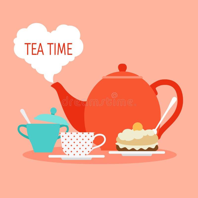 Concepto del vector del tiempo del té Ejemplo del desayuno o del almuerzo con té y la torta stock de ilustración