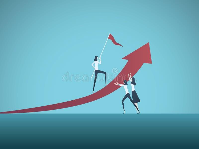 Concepto del vector del trabajo en equipo del negocio con las empresarias que trabajan junto para alcanzar metas Símbolo de la co libre illustration