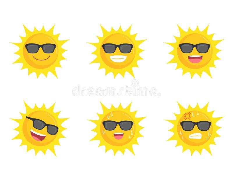 Concepto del verano del sistema de la muestra del icono de la colección de los vidrios de los ojos de Sun que lleva ilustración del vector