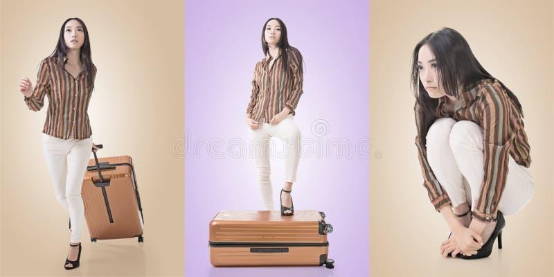 Concepto del viaje con belleza asiática imagenes de archivo