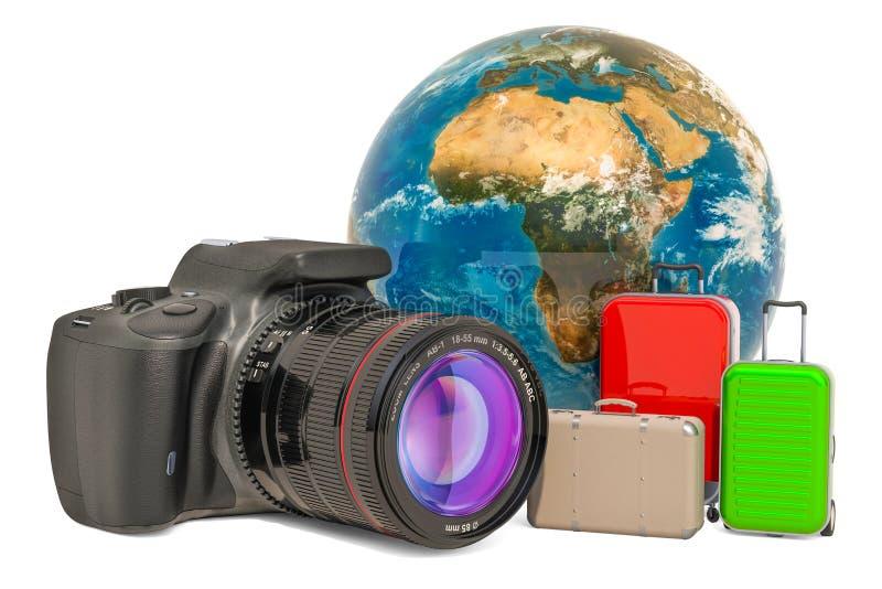 Concepto del viaje con la cámara refleja de lente única digital, representación 3D libre illustration