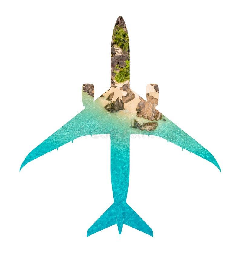 Concepto del viaje de aeroplano con la playa tropical stock de ilustración