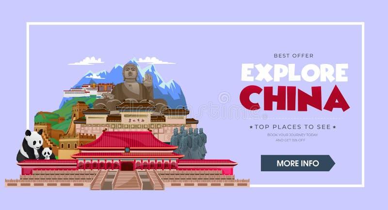 Concepto del viaje de China Destinos hermosos del viaje de China Explore el ejemplo del viaje de Asia Concepto de diseño del viaj libre illustration