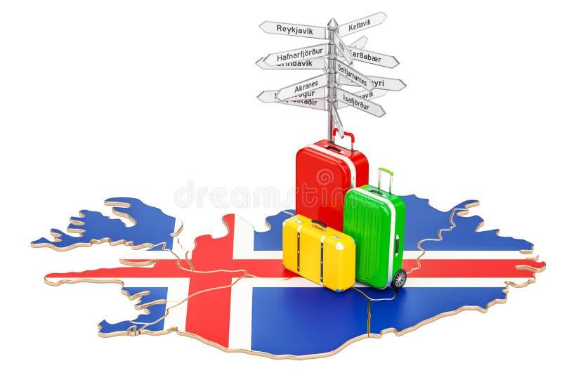 Concepto del viaje de Islandia Mapa islandés con las maletas y los signpos ilustración del vector
