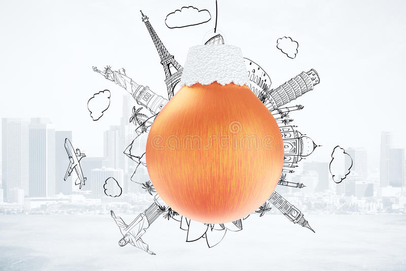 Concepto del viaje de la Navidad con la bola roja del árbol de navidad y dibujado stock de ilustración