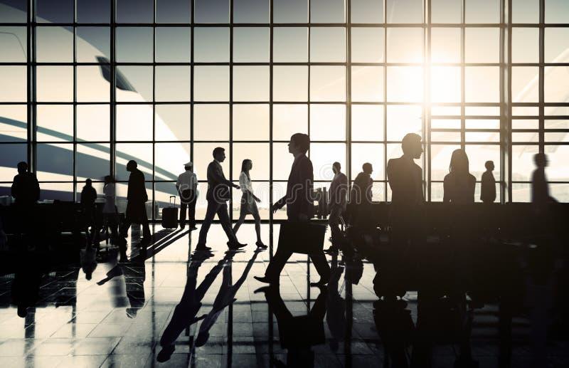 Concepto del viaje de negocios de la salida del aeroplano del aeropuerto internacional imágenes de archivo libres de regalías