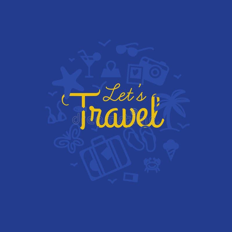 Concepto del viaje - letras handdrawn con los iconos del verano en círculo en estilo linear libre illustration
