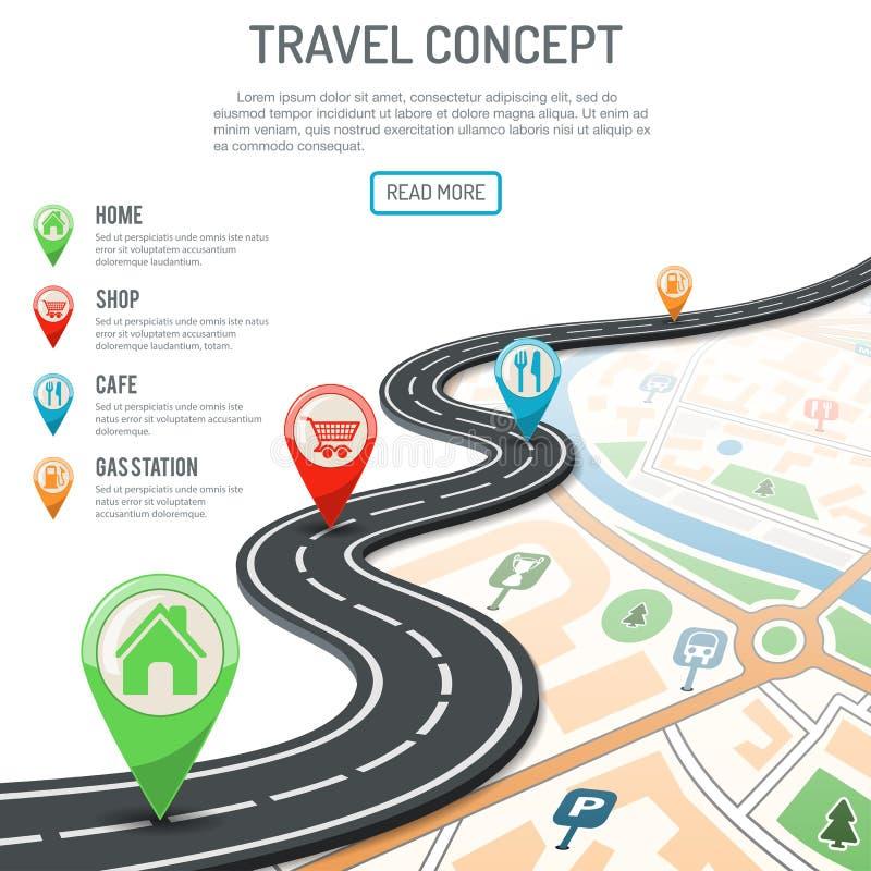 concepto del viaje y de la navegación libre illustration