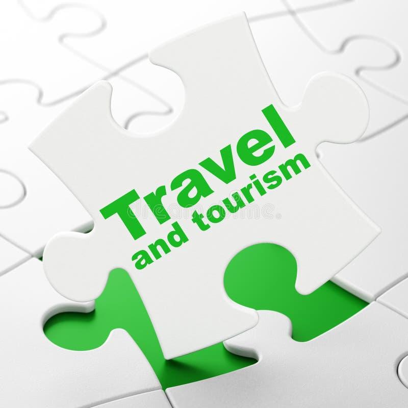 Concepto del viaje: Viaje y turismo en fondo del rompecabezas stock de ilustración